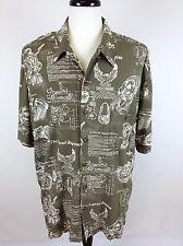 HARLEY DAVIDSON Shirt BLUE Button Up BIKER Print COTTON Camp SHIRT XXL 2XL