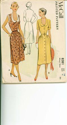 1951 Vintage Sewing Pattern Day Dress by shellmakeyouflip 1950s Dress Patterns, Costume Patterns, Mccalls Patterns, Vintage Sewing Patterns, Clothing Patterns, Vintage Clothing, Vintage Dresses, Vintage Outfits, Vintage Fashion