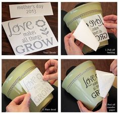 day gift vinyl DIY Flower Pot Decal / Love Makes All Things Grow / Spring Gift Idea / Planter Garden Decor / Mothers Day Gift Flower Pot Crafts, Clay Pot Crafts, Painted Flower Pots, Painted Pots, Diy Fleur, Decoration Vitrine, Fleurs Diy, Ideias Diy, Mother's Day Diy