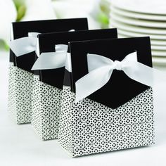 Black and White Tent Wedding Party Favor Box also available in fuchsia pink and palm turquoise.