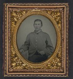 "[Unidentified soldier in Confederate shell jacket with ""I"" buttons] (LOC) 