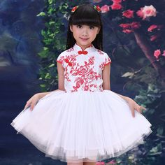 $25.00 (Buy here: https://alitems.com/g/1e8d114494ebda23ff8b16525dc3e8/?i=5&ulp=https%3A%2F%2Fwww.aliexpress.com%2Fitem%2FFemale-child-cheongsam-costume-skirt-vintage-chinese-style-tang-suit-child-summer-classical-blue-and-white%2F32699155383.html ) 2016 Children Clothing Dress Peacock Pattern Girls Princess Silk Cheongsam Baby Costume Chinese Style Sleeveless Kids Slim Dress for just $25.00