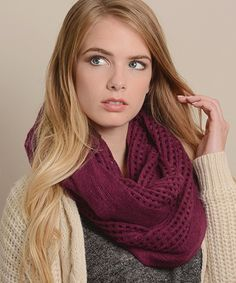 Look at this Leto Collection Plum Open-Grid Infinity Scarf on #zulily today!
