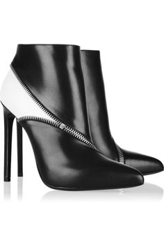 Two-tone Net-a-Porter leather ankle BOOTIES
