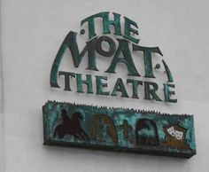 sign at the moat Theatre Naas. This sign was made many years ago and looks as good today as the day it went up. The copper was patinated and the box under the text is internally illuminated.