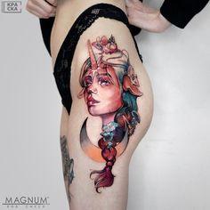 Skull, Portrait, Tattoos, Color, Women, Tatuajes, Headshot Photography, Women's, Tattoo