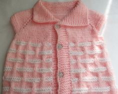Knitting Pattern...Knitting Baby Vest... Sweater...Pink and White
