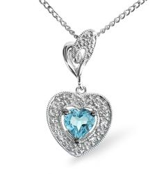 Blue Topaz 0.48CT And Diamond 9K White Gold Pendant. #thediamondstoreuk #bluetopaz #topaz #gemstone #pendant #diamonds #jewellery #birthstone
