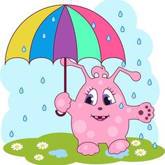 Cute pink monster with umbrella