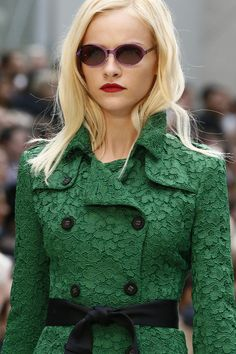 Burberry Prorsum, spring 2013.  Green lace trench.
