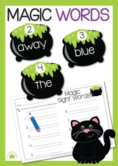 A little bit of magic this Halloween with magic sight words. Reading and writing sight words. #Halloween #busylittlebugs #TPT # printables