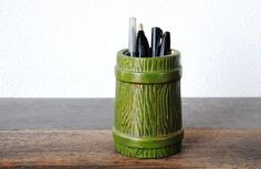 Vintage Pencil Holder Cup, Green Faux Wood Barrel, Mid Century Kitsch Office Decor on Etsy, $26.00