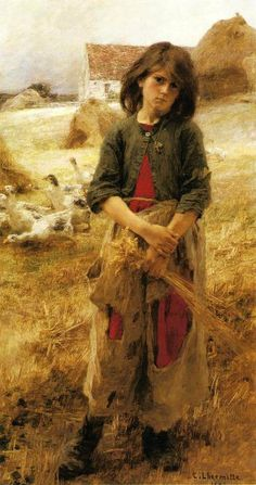 """""""The Little Goose Girl Of Mezy"""" ... by Leon Augstin L'Hermitte - 1892"""