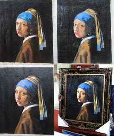 Reproductie schilderij Vermeer meisje met de parel in craquelé http://www.mypainting.nl/page/116-voorbeelden-schilderijen-in-opdracht