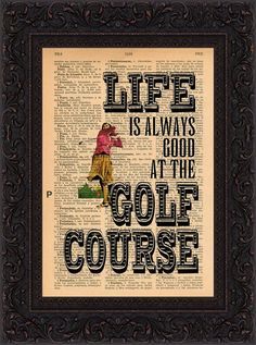 Life Is Always Good At The Golf Course on repurposed 1930's Spanish encyclopaedia Page mixed media digital print art on Etsy, $9.11 AUD