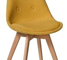 Krzesło Fiord 3 żółty / buk - Krzesła do salonu - zdjęcia, pomysły, inspiracje - homebook
