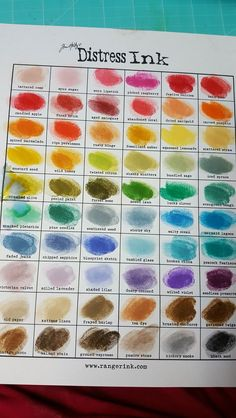 Tim holtz ranger distress ink chart. Cindy's photo. July 2016. 60 colours!: