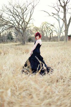 Sensational Corset Black Wedding Dress Gothic Elegant by WeddingDressFantasy on Etsy https://www.etsy.com/listing/184190935/sensational-corset-black-wedding-dress