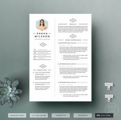 4page Resume Template / CV Template Pack  Cover door OddBitsStudio