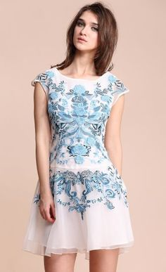 White Blue Flower Embroidery Cap Sleeve Sheath Dress