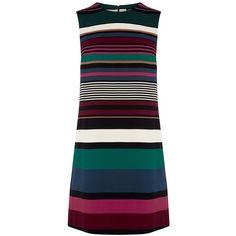 Warehouse Striped Shift Dress ($76) ❤ liked on Polyvore featuring dresses, women, sleeveless shift dress, blue stripe dress, blue shift dress, stripe dress and striped dress