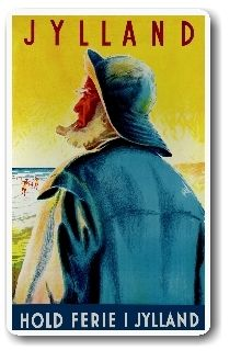 "Jylland, Denmark's peninsula, is a beautiful region. I hate the harsh English version ""Jutland."" Vintage poster by Henrik Hansen."