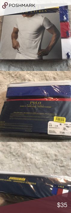 Polo Ralph Lauren 3 Crew Cotton Shirts Sz L New in Packages Polo Ralph Lauren 3-Pack Classic Fit Cotton Crews -100% Authentic -Tag Free -Sized for a relaxed underwear fit -100% Cotton -3 Shirts -Classic Fit -- Crew Neck -Ring Spun Combed Cotton -Short Sleeves with sewn cuffs -Even Sewn Hem -Embroidered Logo on front Left side  SIN: Men's Bin Polo by Ralph Lauren Shirts Tees - Short Sleeve
