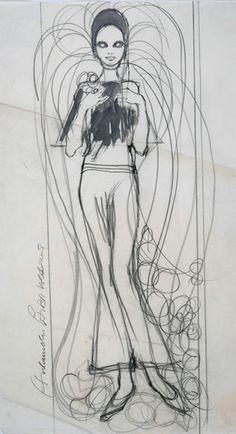 Barbara Hulanicki (1936 - ) Original Fashion Sketch BIBA - Wedding Dress I C1968, Watercolour on Paper, signed & inscribed 56 x 43 cms £2,500