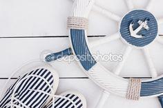 Marine style card. White and blue nautical theme. — Stock Photo © NataliaMilekhina #83356890