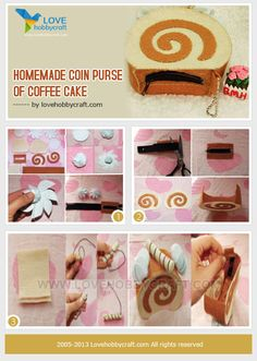 Homemade coin purse of coffee cake Felt Crafts Diy, Food Crafts, Felt Diy, Homemade Crafts, Crafts To Do, Hobbies And Crafts, Crafts For Kids, Felt Food Patterns, Craft Patterns