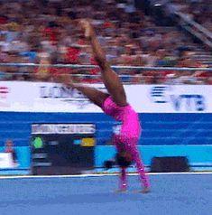 WOGymnastika: Simone Biles' Amazing Floor Routine At Nanning's Qualification In GIF Gymnastics Quotes, Gymnastics Posters, Gymnastics Videos, Olympic Gymnastics, Gymnastics Girls, Olympic Games, Gymnastics Floor Routine, Tumbling Gymnastics, Amazing Gymnastics