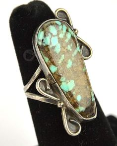 Sterling Silver Abstract Natural Turquoise Ring, shopgoodwill.com  #shopgoodwill #goodwill #turquiose