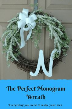 Could your front door use a little decor? In my post I walk you through making this beautiful monogram wreath that is perfect for spring and summer! Click through to make your own!-easy tutorial-grapevine wreath