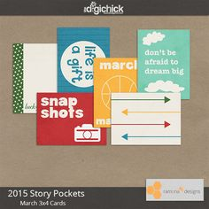 Free 2015 Story Pockets March 3x4 Cards from Ramona B. Designs {on Facebook}