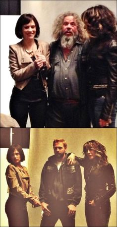 Sons Of Anarchy Season 6 Publicity shots via @Dom_Pagone Maggie Siff, Mark Boone, Jr. , Katey Sagal and Charlie Hunnam's stand-in - Photo credit: James Minchin