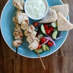 """Chicken Souvlaki with Tzatziki Sauce 
