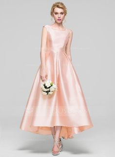 A-Line/Princess Scoop Neck Asymmetrical Zipper Up Cap Straps Sleeveless No Pearl Pink Spring Summer Fall General Plus Satin Height:5.7ft Bust:33in Waist:24in Hips:34in US 2 / UK 6 / EU 32 Bridesmaid Dress