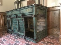 Beautiful indoor dog kennel. Use as an entertainment piece, credenza, entry table! Double barn doors. Double indoor dog kennel with 3 drawers!
