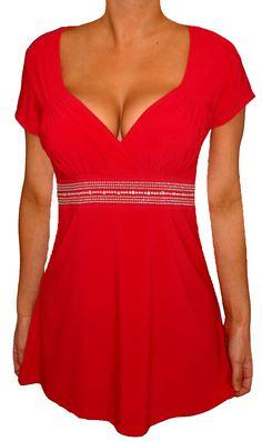 Funfash Plus Size Top Red Empire Waist Women's Plus Size Shirt Blouse Clothing