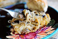 Creamy Chicken Spaghetti Casserole. So delicious, albeit a little labor intensive.