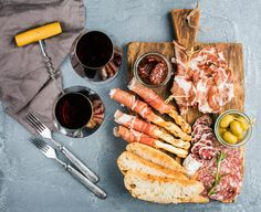 Cheese and meat appetizer selection or wine snack set. Variety of cheese salami prosciutto. Quick Appetizers, Appetizer Recipes, Charcuterie Platter, Tv Chefs, Food Lists, Street Food, Wine Recipes, Prosciutto, A Food