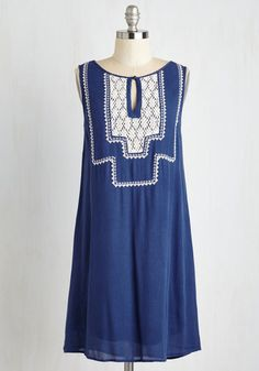 All's Belle That Ends Well Dress - Blue, Solid, Casual, Sundress, Boho, Americana, Shift, Sleeveless, Summer, Woven, Good, Mid-length