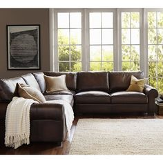 Pottery Barn Turner Roll Arm Leather 3-Piece L-Shaped Corner Sectional ($5,595) ❤ liked on Polyvore featuring home, furniture, sofas, rooms, backgrounds, living rooms, nailhead trim sofa, leather corner sofa, modular leather sofa and leather sofa