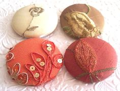 Orange buttons, gold buttons, embroidered buttons, sequin buttons, size 75 buttons