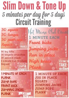 Clean and Lean Free Challenge with Hot Mama Club - 5 days circuit training and mantras to slim down and tone it up.