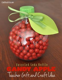 Apple Soda Bottle Candy Jar Craft Idea for Back to School by Club Chica Circle.