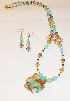 Swarovski and Czech Woven Crystal Cluster, Mexican Opal Earring Necklace Set