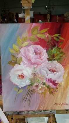 Three pinks oil on canvas