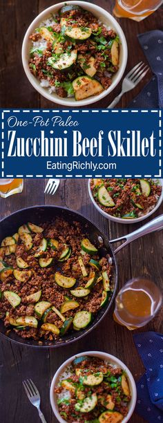 Need a quick easy paleo dinner? This one-pot zucchini beef skillet is ready in 30 minutes and can be eaten as is or over rice. Use up that garden zucchini! From EatingRichly.com
