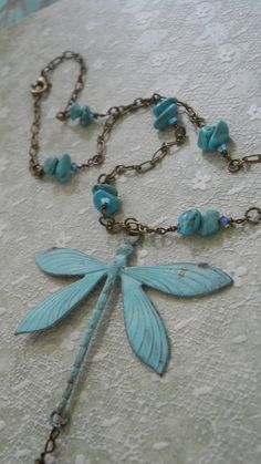 Libellule dragonfly necklace icy aqua genuine by bohemienneivy
